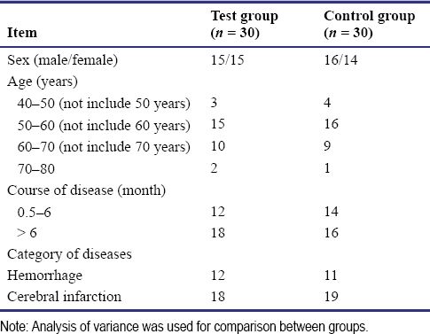 Table 4: Clinical data of stroke patients with hemiplegia included in a pilot study