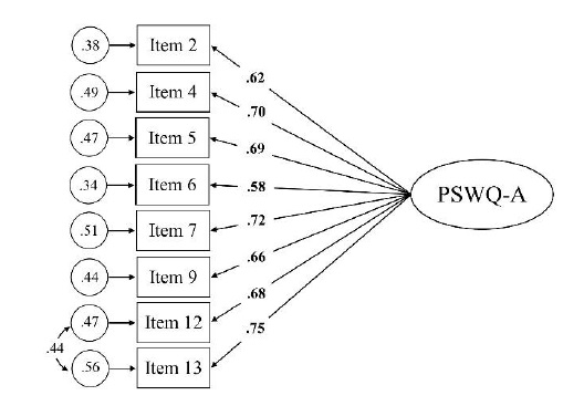 Figure 3: Standardized two-factor structure of the PSWQ-A model.